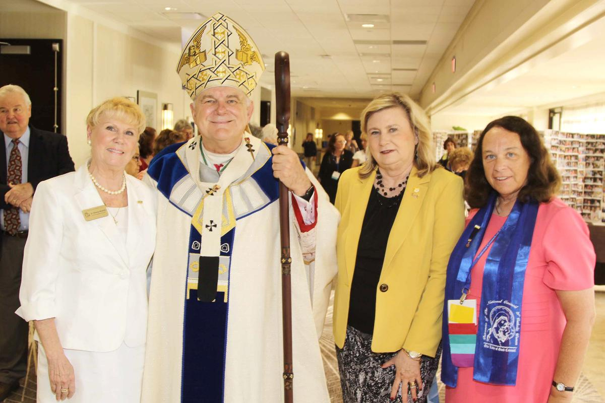 NCCW Convention 2015  Rebecca Woodhull, outgoing NCCW  President, Archbishop Wenski, Sheila Hopkins, NCCW President, and maribeth  Stewart, NCCW President Elect